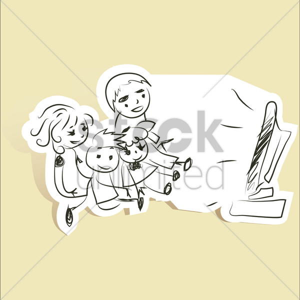 Free family watching television vector graphic