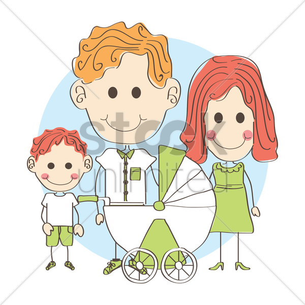 family with newborn baby vector graphic