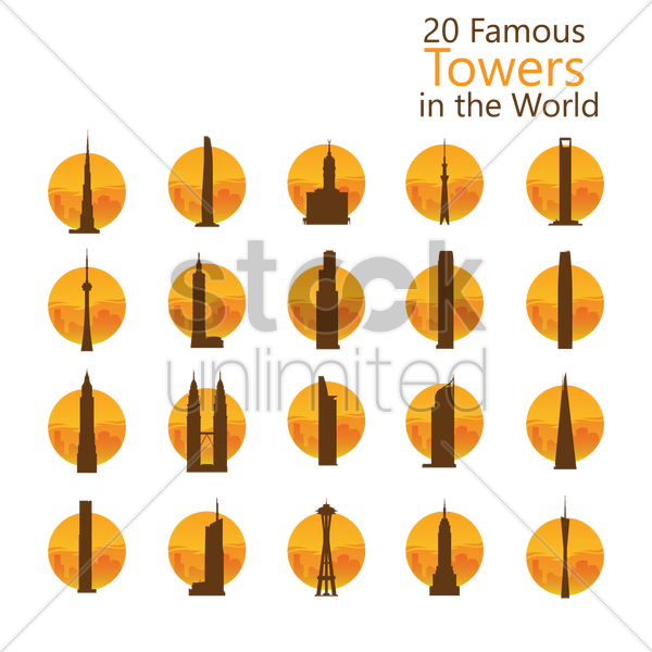 famous towers in the world vector graphic