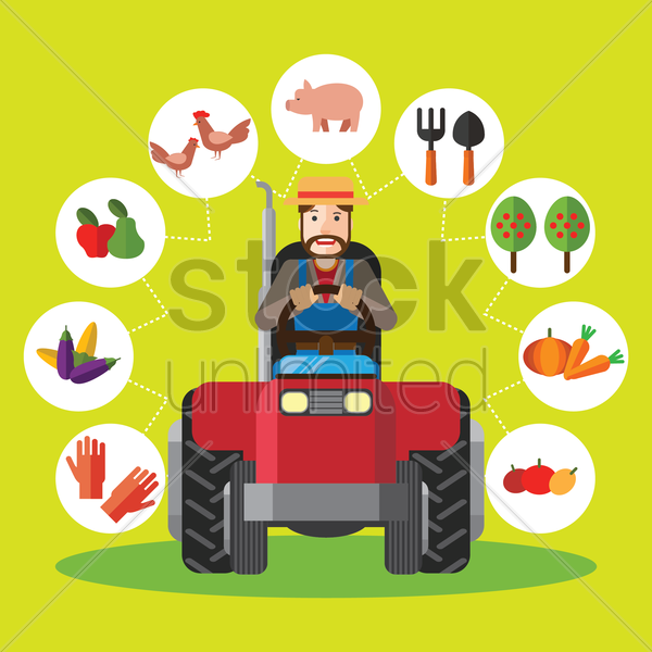 farmer driving tractor vector graphic