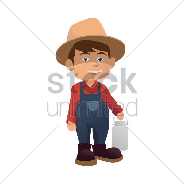 farmer holding a can of milk vector graphic