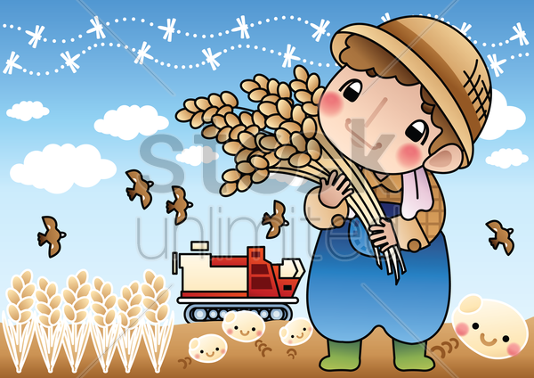 farmer holding wheat stalks vector graphic