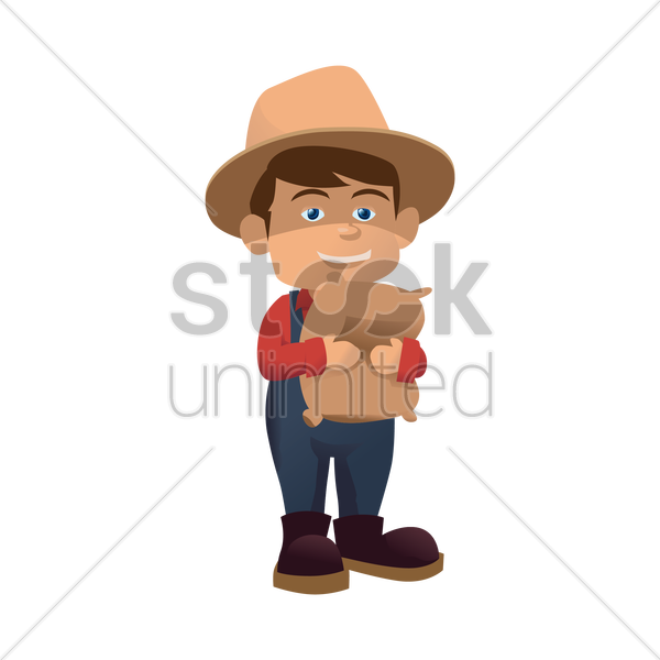 farmer with a bag of fertilizer vector graphic