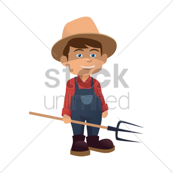 farmer with pitch fork vector graphic