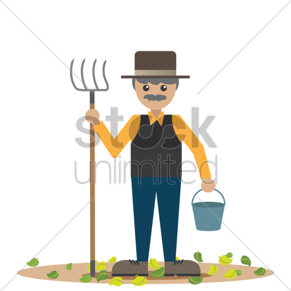 farmer with pitchfork and bucket vector graphic