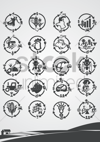 farming icons vector graphic