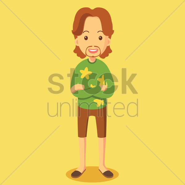 fashionable man with his arm crossed vector graphic