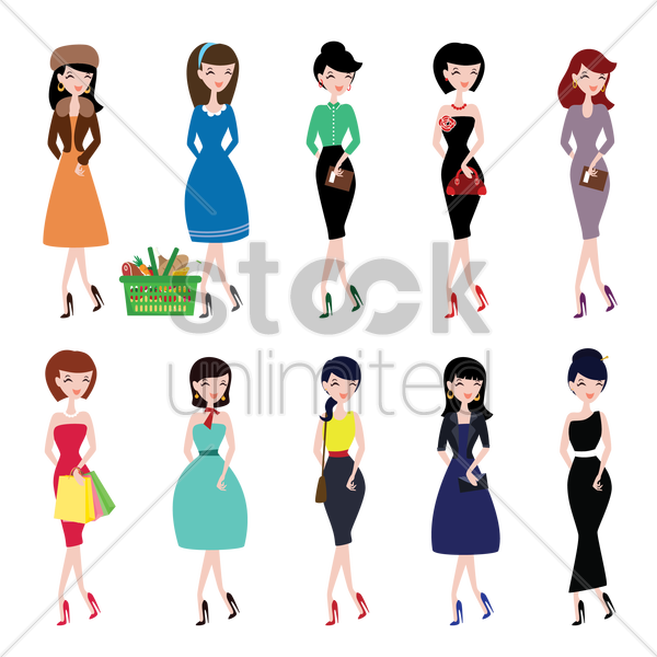 fashionable women collection vector graphic