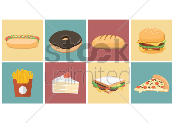 fast food icons vector graphic