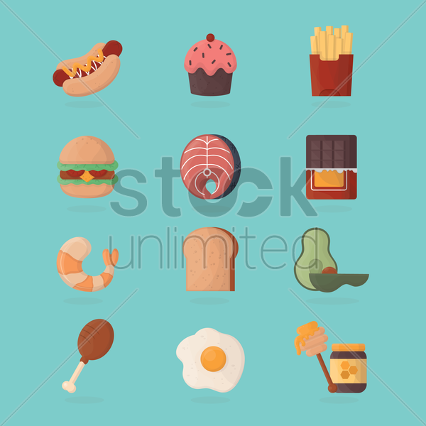 fast food items vector graphic