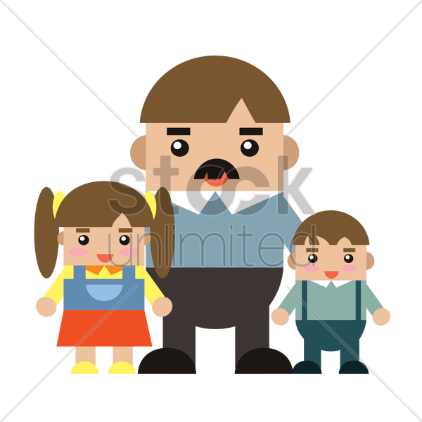father and children vector graphic