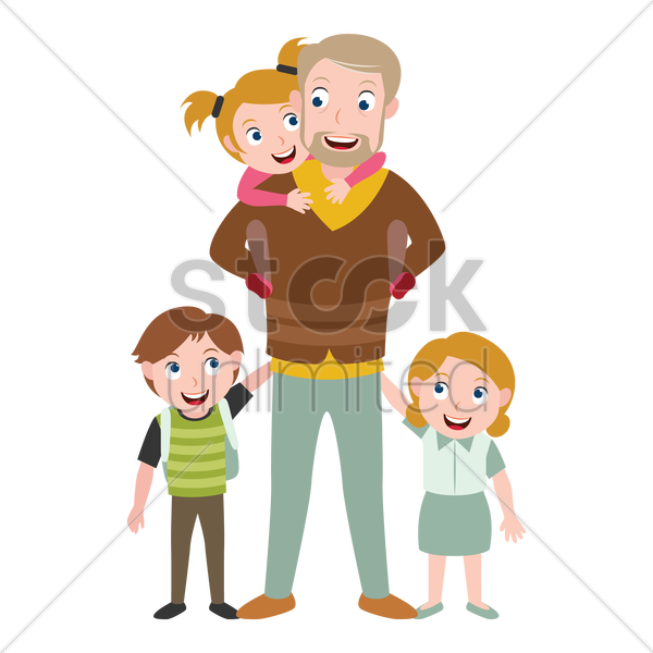 father and kids vector graphic