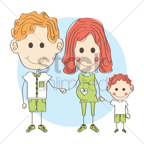 father and pregnant mother with son vector graphic