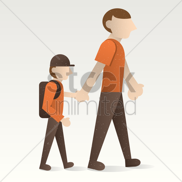 father and son walking together vector graphic