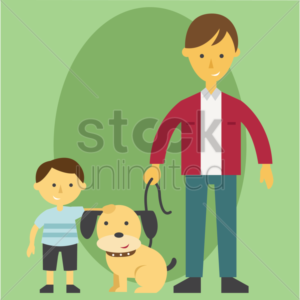 Free father and son with pet dog vector graphic