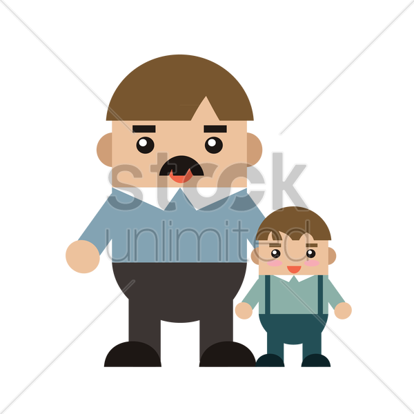 father and son vector graphic