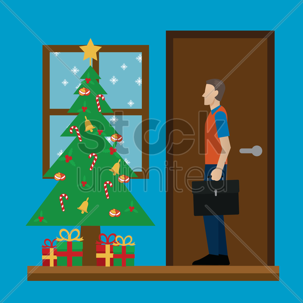 father comes home for christmas vector graphic