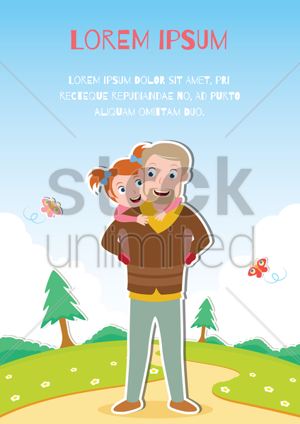 father with daughter vector graphic