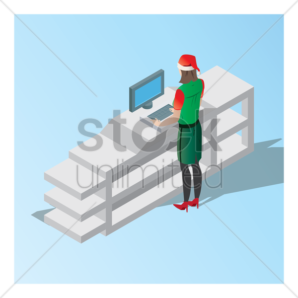 female cashier at checkout counter vector graphic