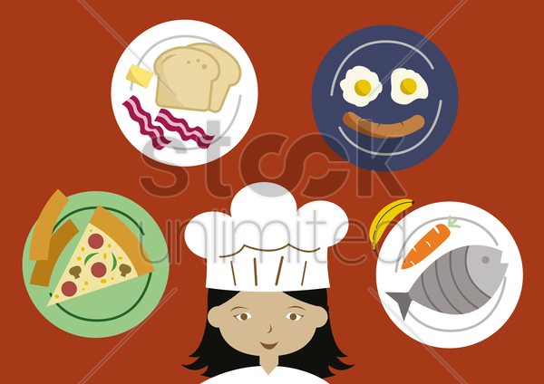female chef presenting food items vector graphic
