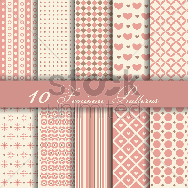 Free feminine patterns vector graphic