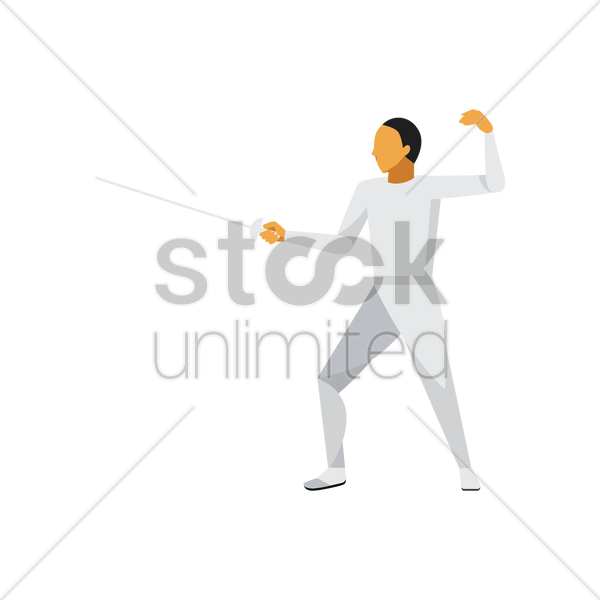 fencing participant in action vector graphic