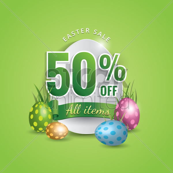 fifty percent off easter sale vector graphic
