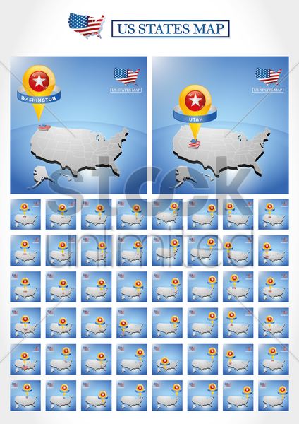 fifty united states map collection vector graphic