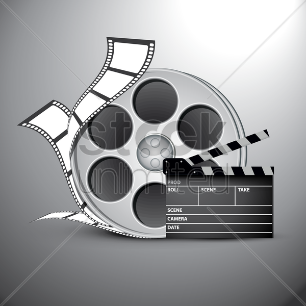 film reel and clapboard vector graphic