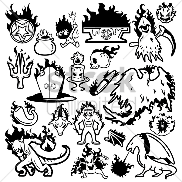 fire breathing creatures collection vector graphic