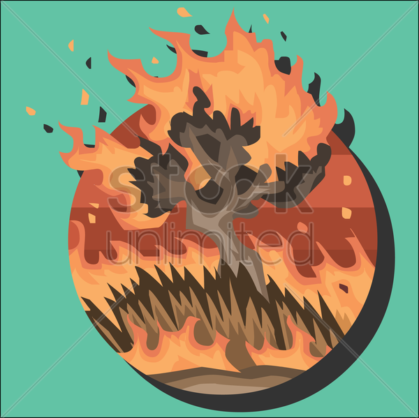 fire in the forest vector graphic