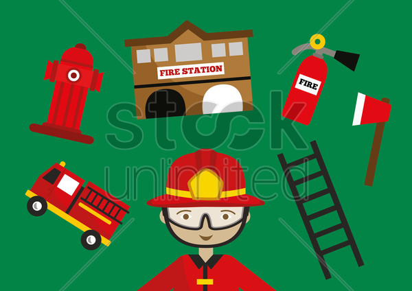 firefighter icon set vector graphic