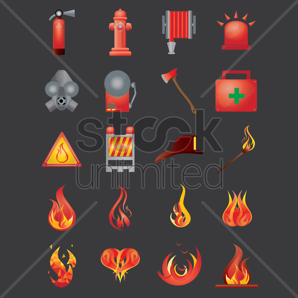 firefighter icons vector graphic