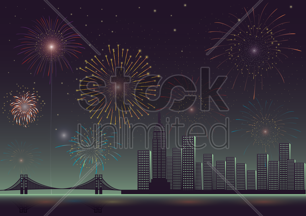 fireworks in the city vector graphic