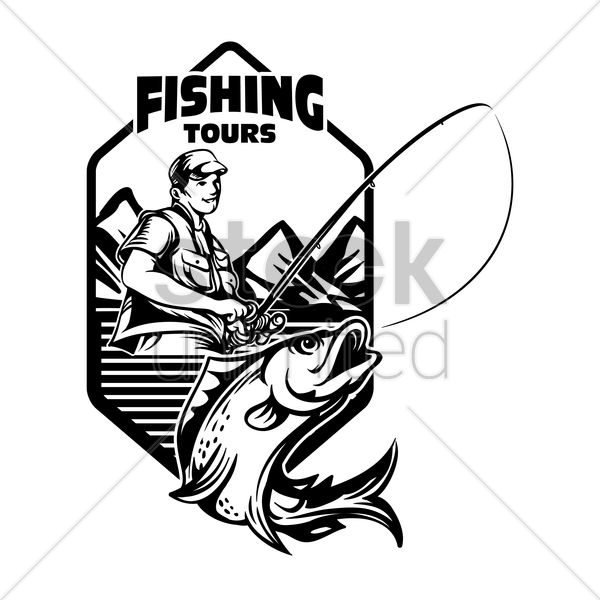 fishing tours badge vector graphic