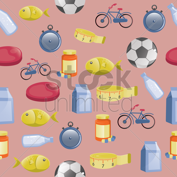 fitness and food background vector graphic