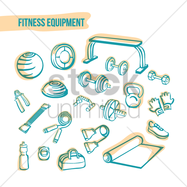 fitness icon set vector graphic