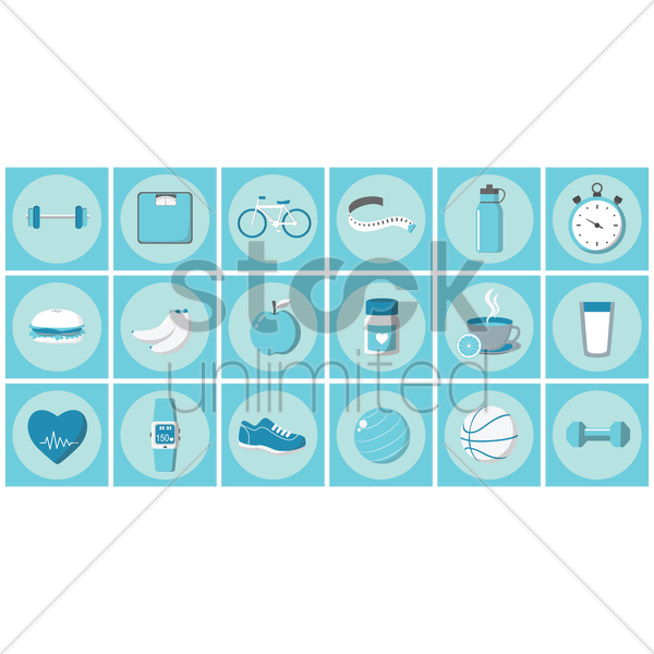 fitness icons vector graphic