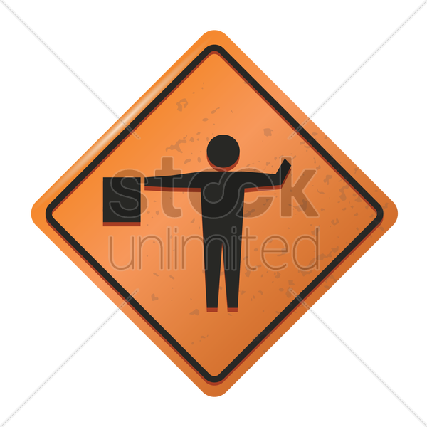 flagger road sign vector graphic