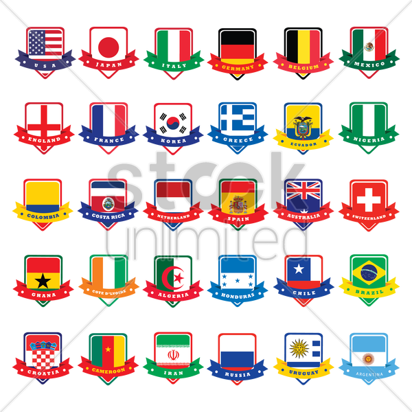 flags of country badges vector graphic