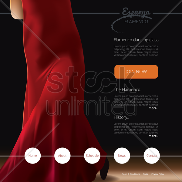 flamenco dance class website template vector graphic