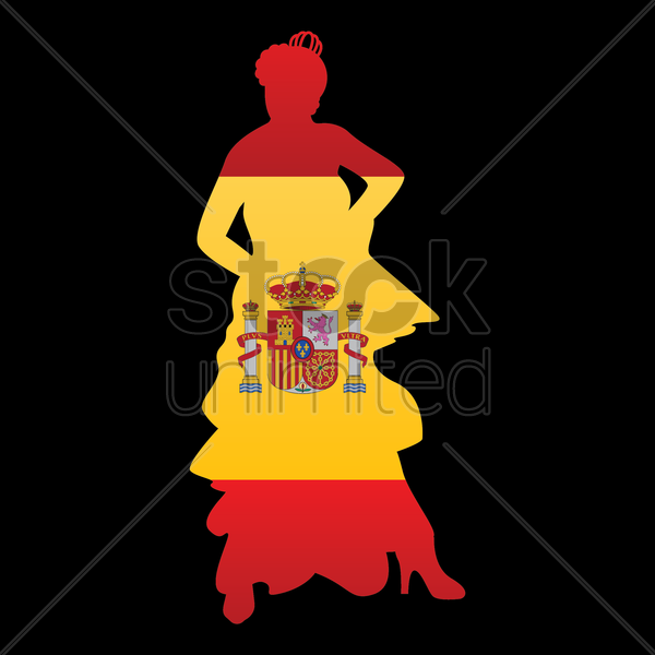 flamenco dancer with spain flag vector graphic