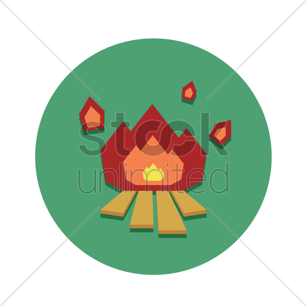 flames of a campfire vector graphic