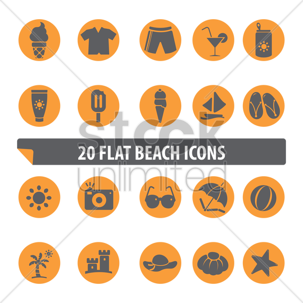 flat beach icons vector graphic