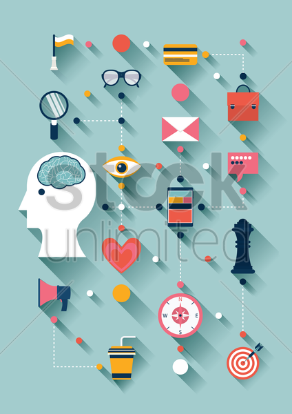 Free flat design of creative thinking icons vector graphic