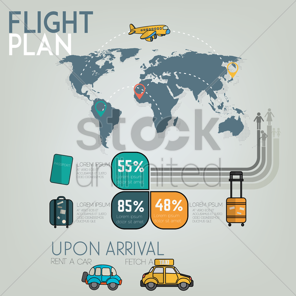 Free flight plan infographic vector graphic