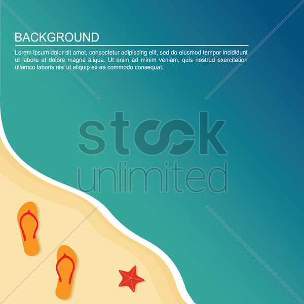 flip flop on beach background vector graphic