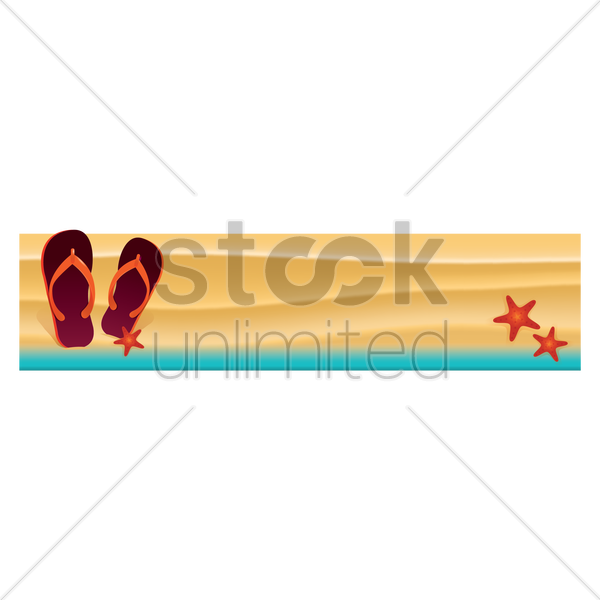 flip flop on beach banner vector graphic