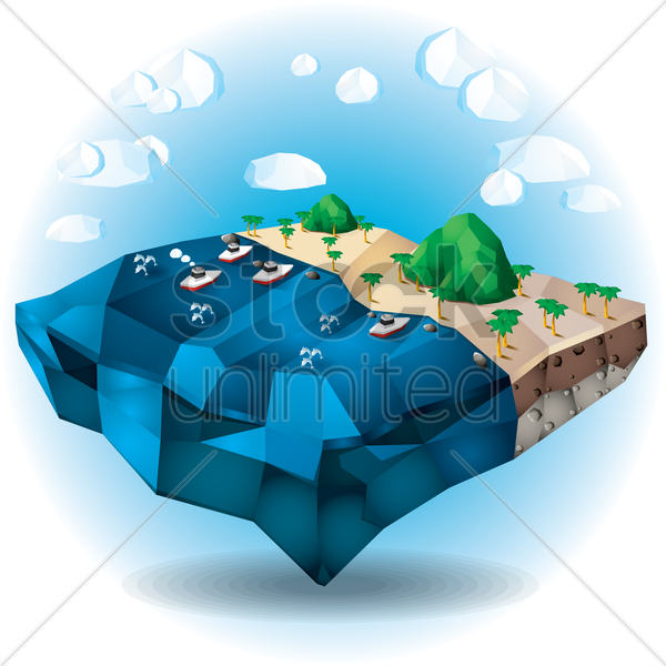 floating beach vector graphic