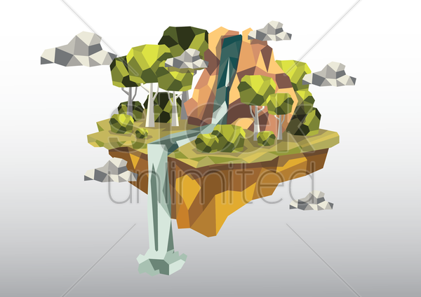 floating island with waterfall vector graphic